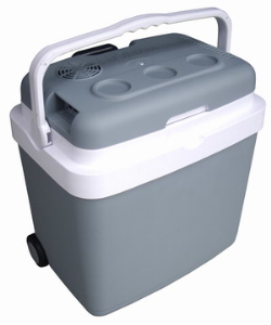Electric cooler box, portable fridge, Thermoelectric Cooler and Warmer With Strong Extension Puller and Wheels For Rolling 33L