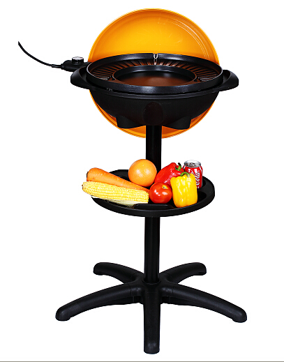 Non-stick coating indoor and outdoor colorful lid Electric BBQ Grill with stand, Multifunction can make pizza, pass CB,CE,EMC,LVD, ETL, GS, RoHS, LFGB certificates