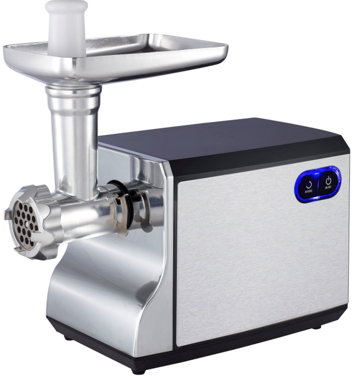 Stainless steel housing meat grinder with electrical switch