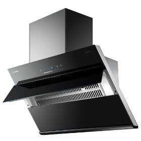Range Hood, All Black Tempered Glass Panel, Unique Fashion