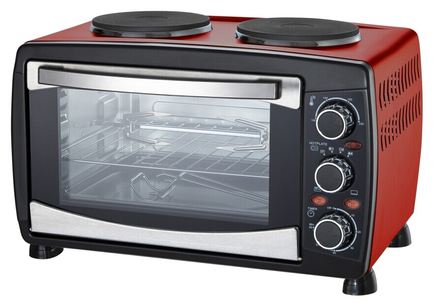 23L Electric Oven with Accurate Temperature,Black/White Housing,Rotisserie/ Convection Function